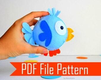 Bird Pattern, Felt Bird, Sewing Pattern, Pdf Pattern ,plush Pattern, Pattern File,instant Download, A504