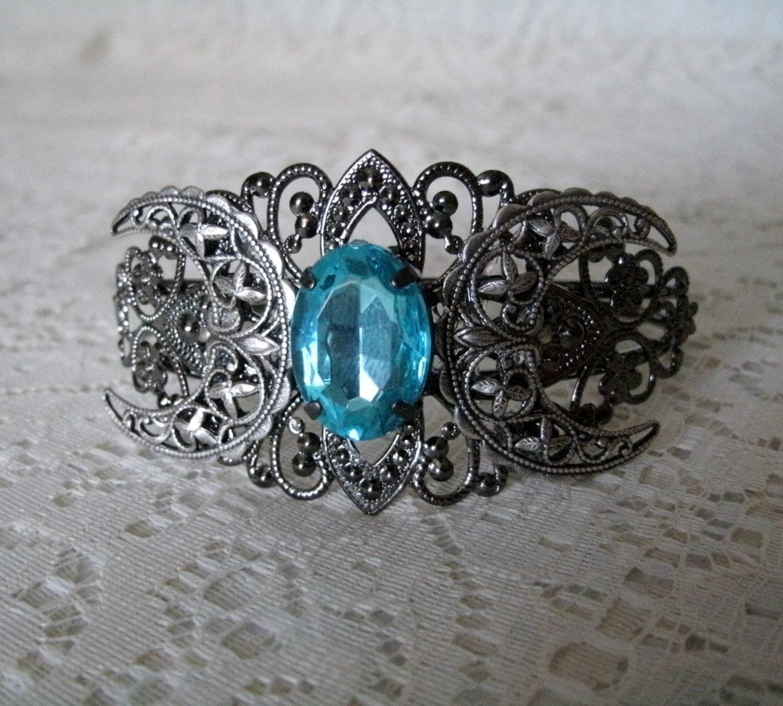 Triple Moon Goddess Cuff Bracelet Wiccan Jewelry Pagan