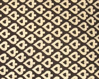 hand printed cotton fabric - black and white leaf print fabric - 1 yard - ctjp152