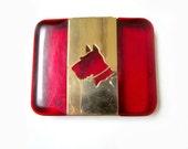 Scottie Westie Dog Box Cut Silhouette Container Vintage Red Plastic
