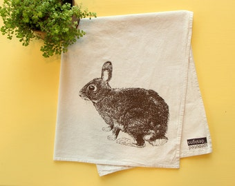 Bunny Rabbit Flour Sack Towel - Deluxe Natural Tea Towel - Hand Screen Printed - Perfect Hostess  Gift