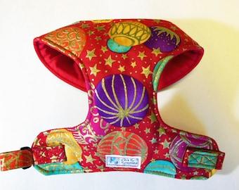 Christmas ornaments, Metallic Comfort Soft Dog Harness, - Made to order -