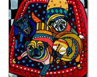 Pug art Tile Ceramic Coaster Mexican Folk Art Print of painting by Heather Galler dog (HG789)