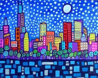 Chicago skyline art city Print Poster by Heather Galler Cityscape Modern Abstract Folk Art (HG290)