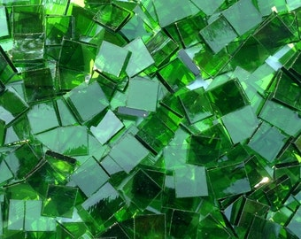 "100 1/2"" Emerald Green Stained Glass Mosaic Tiles"