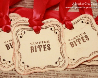 Halloween Gift Tags (Double Layered) - Vampire Bite Tags - Vintage Inspired Handmade Halloween Tags (Set of 8)