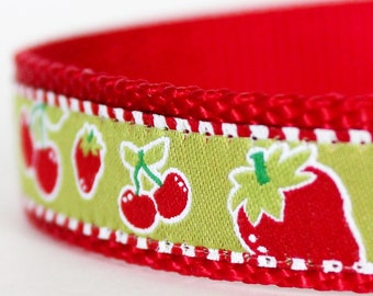 Fun Fruit Dog Collar, Pet Strawberry, Cherry Dog Collar, Adjustable Dog Collar