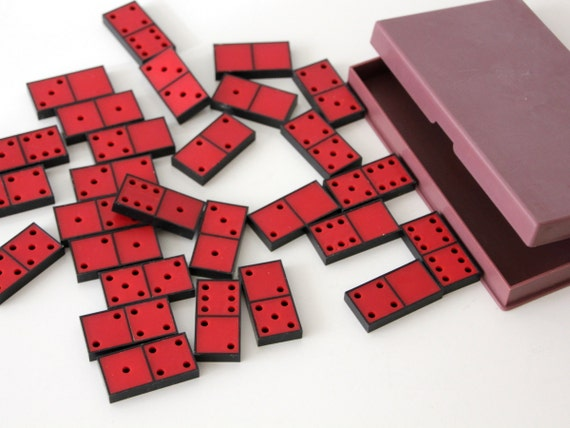 Vintage red plastic Domino set with plastic case