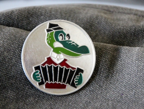 Vintage USSR pin with Gena, well known animation character from Soviet Union