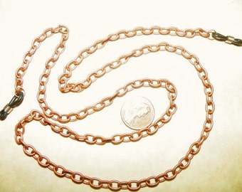 Eyeglass, Chain, Copper, Oval, link, men, unisex, Artisan made, 29 inch