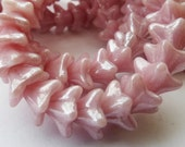 25 Czech Glass Flower Beads in Opaque Pink Luster  Size 5.5x9mm