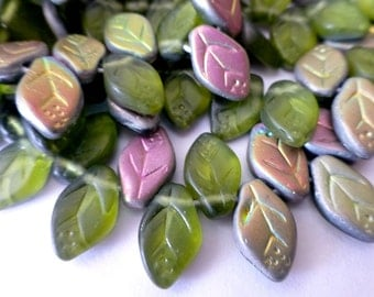 50 Olive Vitail Matte Czech Glass Leaf  Size 12x7mm