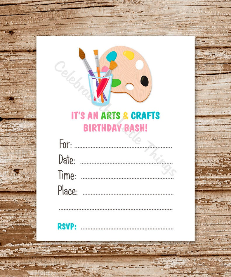Art Party Invitation For Girls Fill In The Blank