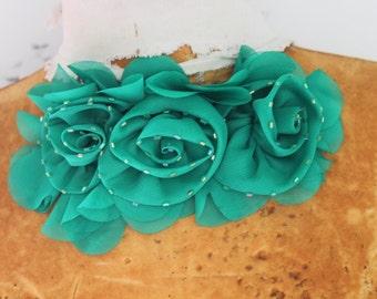 Cute  beaded ruffled chiffon    flower  applique green color