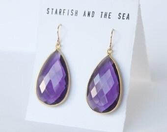 Purple Amethyst of the Sea Marquis Gold Vermeil Drop Earrings