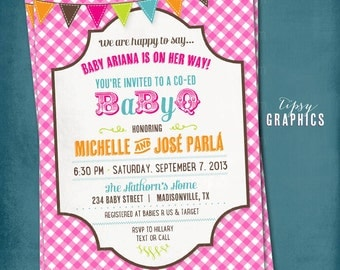 Picnic Baby Barbecue. Co-Ed Gingham BabyQ Baby Shower Party Invitation.  Any text or Colors by Tipsy Graphics