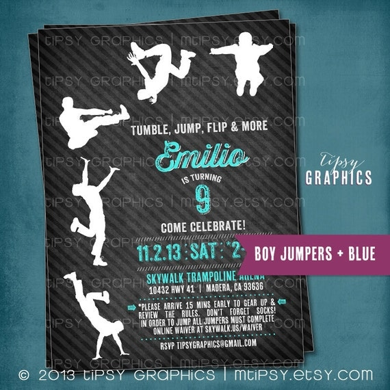Trampoline Party Invitations: JUMP Tumble Flip. Chalkboard Trampoline Birthday Party By