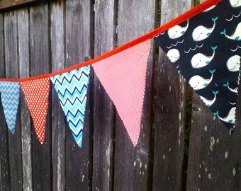 Fabric Bunting Flags Birthday Banner Party Flags Whales Nautical Red, White, Blue, Turquoise Happy Birthday Fabric Pennant Banner