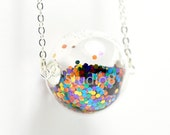 Mix color glitter hand blown glass ball silver necklace