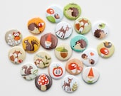 Pin Back Buttons - Woodland Themed ( set of 20)