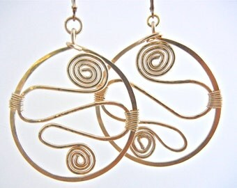 Gold Hoop Earrings, Handmade Organic Tribal Earrings, Handcrafted and Hand Forged Earrings