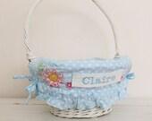 Large Easter Basket Liner -- Blue Dot Floral -- Free Monogram --