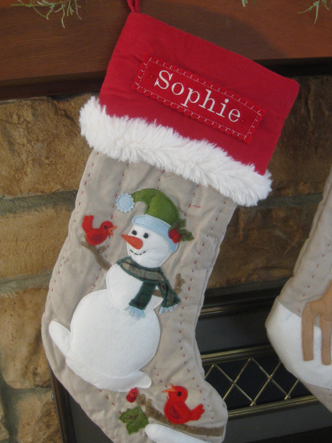 snowman christmas stocking with personalized monogram pottery