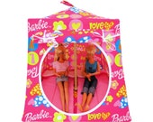 Toy Pop Up Tent, Sleeping Bags, pink, Barbie & heart print fabric