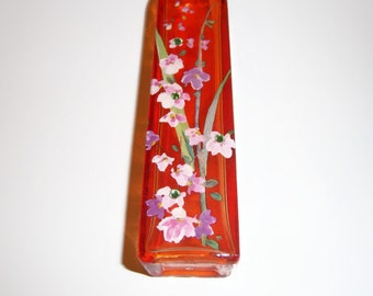 Orange bud vase - pink and purple wisteria  - swarovski crystals