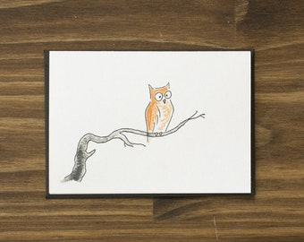 owl on branch happy halloween card