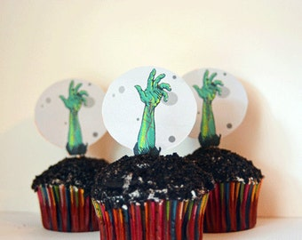 Printable DIY Zombie Cupcake Toppers