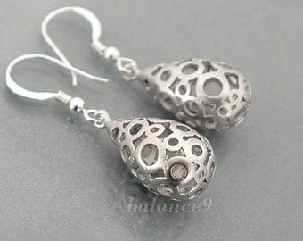 Silver drop earrings, Filigree earrings gift, dainty teardrop earring bubble dangle, sterling silver ear wire, everyday jewelry, by balance9