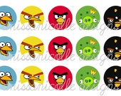 INSTANT DOWNLOAD Angry Birds Digital Bottle Cap Image Sheet