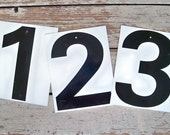 """Large 10"""" Industrial Numbers - Black on White Metal"""