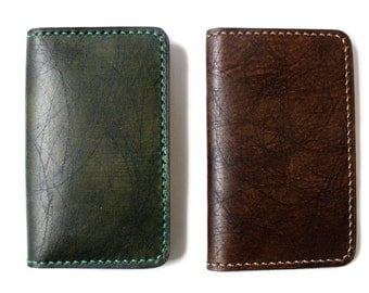 UNIQUE and RARE scratched leather card case (Free Monogramming)