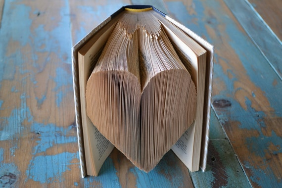 The Heart - Reader's Digest Condensed Books - Folded Book Art - Recycled, Repurposed, Reclaimed - Paper Anniversary - Wedding