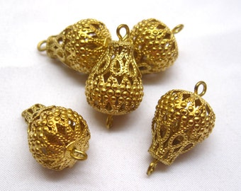 6pcs Brass Filigree Findings End Charm Connector for Jewelry Design Earring bf086