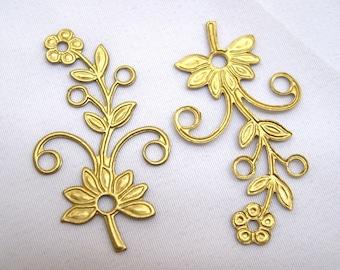 10pcs Stamping Flower Filigree Raw Brass Findings 38x21mm bf001