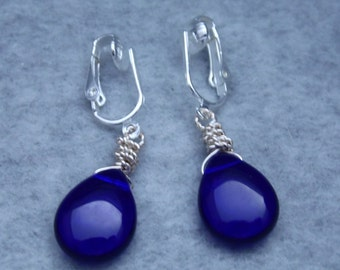 Cobalt Blue Teardrop Bead Earrings, Dangle Earrings, Wire Wrapped Briolette Earrings, Clip On Earrings