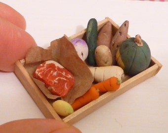 Miniature Dollhouse Assorted Vegetables and Meat in a Wooden Tray
