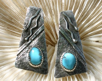 Sterling silver and turquoise earrings,  JS-er-006