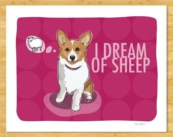Corgi Art Print - I Dream of Sheep - Funny Pembroke Welsh Corgi Art Gifts Dog Pop Art