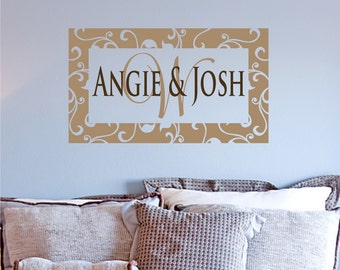 Elegant Frame Monogram Vinyl Wall Decal - Custom name monogram - removable wall decal decor sticker