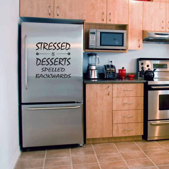 Kitchen Vinyl Wall Art - Stressed is Desserts Spelled Backwards - Removable Vinyl Wall Decal by Katazoom