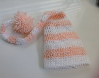 Baby Elf Stocking hat, crochet, pink and white,pompon . #13185