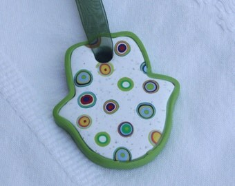 Small Hamsa wall hanging in granite white and colorful circles, polymer clay, millefiori