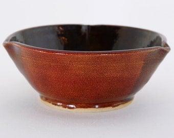 Red brown petal bowl with dark inside