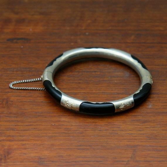 Vintage Black and Gold Toned Bracelet