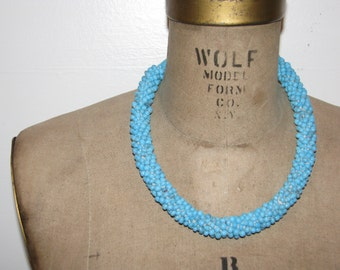 Vintage 1960s Baby BLUE Glass SEED Beaded Handmade Necklace Choker Native