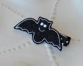 Sparkly Black Bat Hair Clip- Cute Halloween Hair Bow